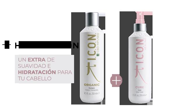 Organic Champú + Cure Spray. la combinación perfecta para obtener mayor Hidratación en el cabello