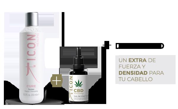 Cure Champú + Organic Aceite. la combinación perfecta para obtener mayor densidad y evitar la caída del cabello