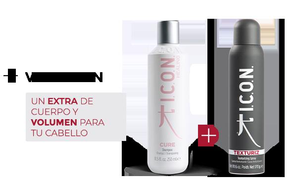 Cure Champú + Texturiz. la combinación perfecta para obtener mayor Volumen en el cabello